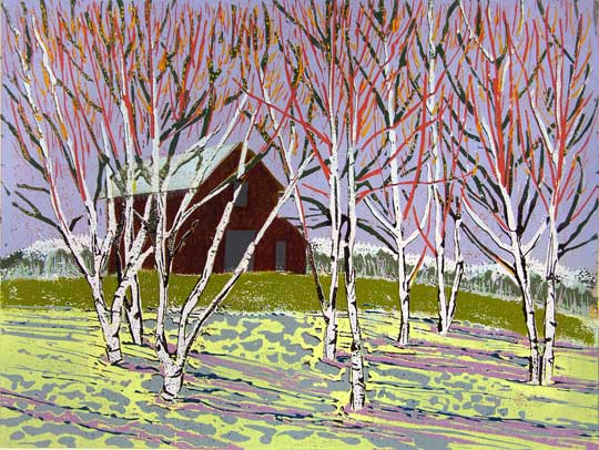 "The Color of Spring Fed Snows,   reduction linoleum print on paper, 15 1/4"" x 15 1/4"" framed,   $525"