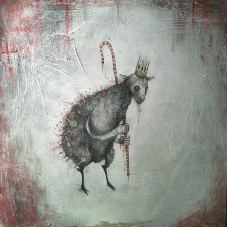 "All good children shed a tear, the sightless Candy Lamb is near,   acrylic, ink, pastel, pencil, graphite on wood, 12"" x 12"""