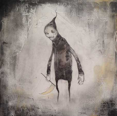 "Slender Ambassador to the Coffin and the Worm,   acrylic, ink, graphite, charcoal on wood, 5"" x 5""   $250"