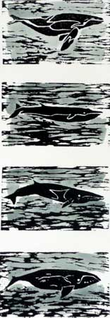 """Prowling Whales (8/10),  woodcut and watercolor, 20¼"""" x 10¼"""" framed"""