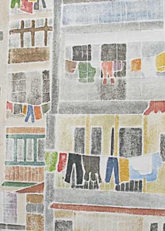 "Behind Barcelona,  white line woodcut monoprint, 12"" x 10"""