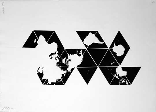 "World Tesselation 04,   shaped plate relief print, 30"" x 22""   $1,200"