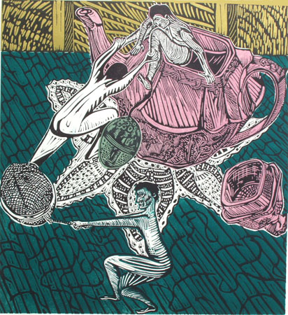 "Tea Party (9/10),  multi-block linoleum print, 16"" x 14 3/4"" sheet size, $275"