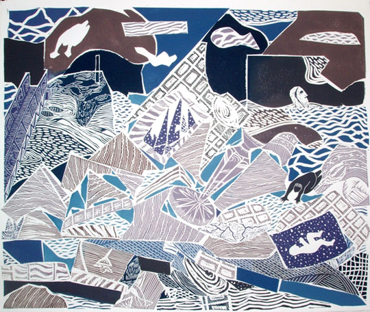 "Ice Breaker,  multi-block linoleum print, 21"" x 26"" sheet size"