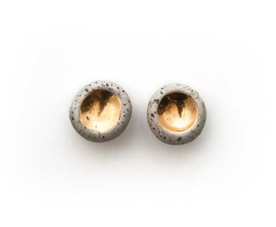 Gold Barnacle Earrings,  speckled stoneware, 22k gold, titanium posts,  small $54, large $64