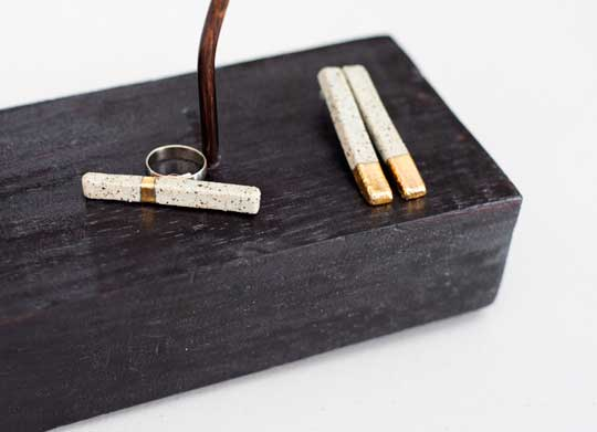 Stone Gold Bar Ring and Earrings,  speckled stoneware 22k gold, titanium earring posts, rhodium plated copper ring band,   earrings, $132