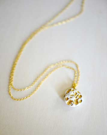 Gold and White Coral Necklace,  porcelain, 22k gold, shiny gold chain,  $92