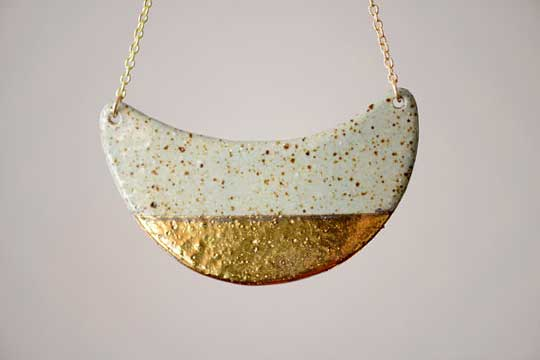 Speckled Half Dipped Necklace,  stoneware, 22k gold, shiny gold chain,  $140