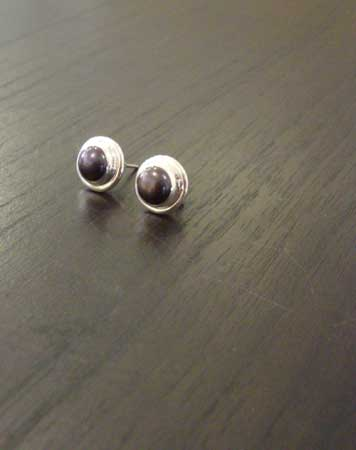 Earrings,   sterling silver, freshwater pearl,   $68
