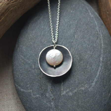 Oxidized silver disc with coin pearl necklace,   sterling silver with freshwater pearl,   $78