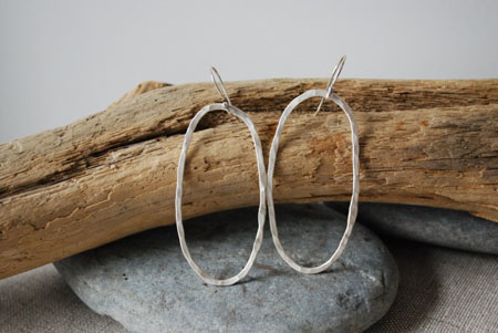Hammered Oval Hoop Earrings,   sterling silver, $65