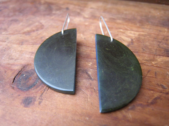 Half-full bakelite earrings,   dark green bakelite, sterling silver