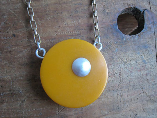 Bakelite necklace,   butterscotch bakelite, sterling silver dome and raw brass chain