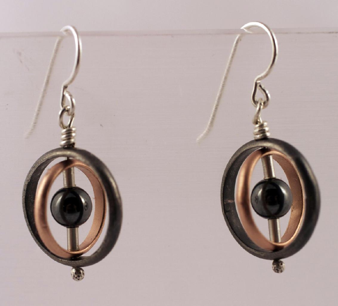 Orbit hematite earrings