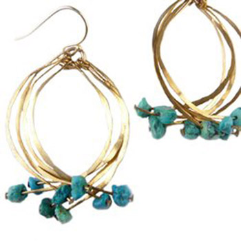 Turquoise Kinetic Earrings,   brass, turquoise, gold fill,   $50