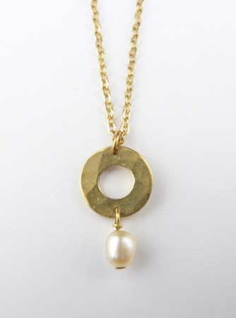 Washer and Pearl Drop Pendant,   Brass, freshwater pearl, gold plate chain,   $19