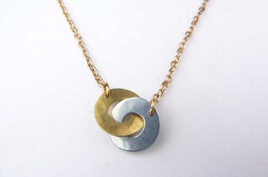 Two Tone Clasp Necklace,   brass, zinc, sterling silver plate chain,   $22