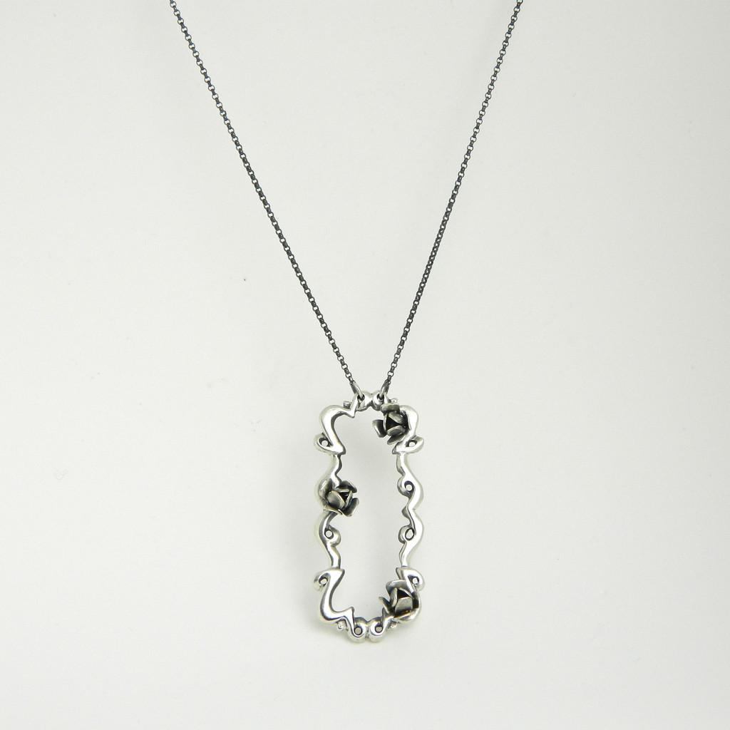 portrait of roses necklace , sterling sliver, $255