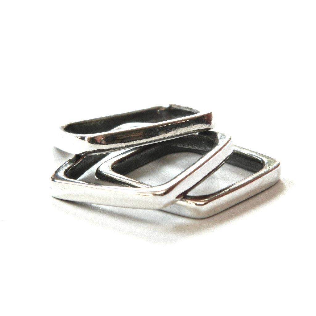 Square stack ring , sterling sliver, $45 each