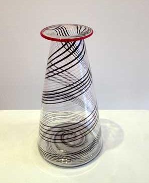 "Red and Black Spiral Vase,  handblown cane glass, 8½"" x 3½"",  $140"