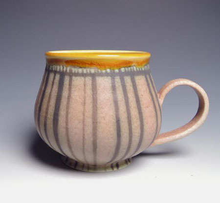 "Rose and Amber Striped Mug,   porcelain,   3"" x 4"", $36"