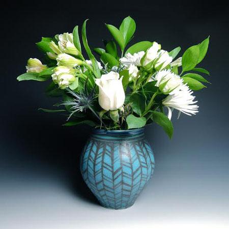 "Turquoise Herringbone Vase,  porcelain,  6"" x 5"", $85"