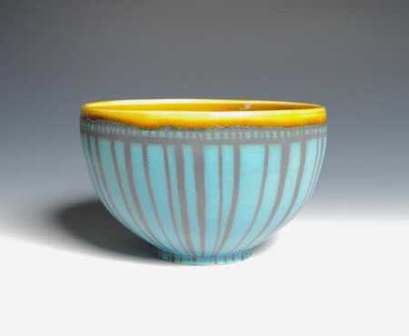 "Turquoise and Amber Striped Bowl,   porcelain,   3"" x 6"", $38"
