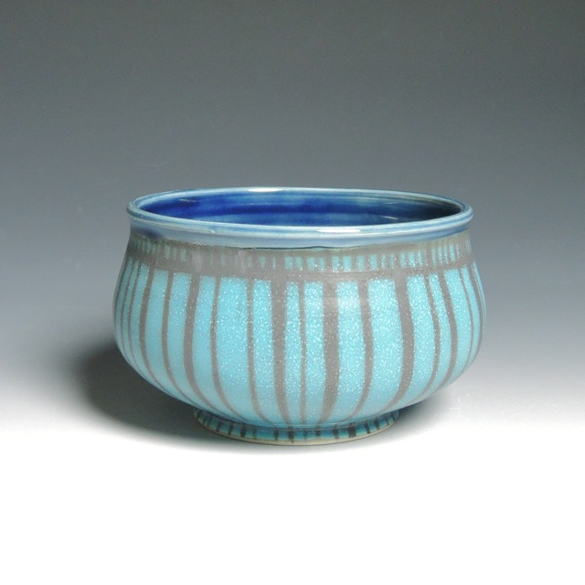 "Turquiose and Navy Low Bowl,   porcelain,   2"" x 6"", $38"