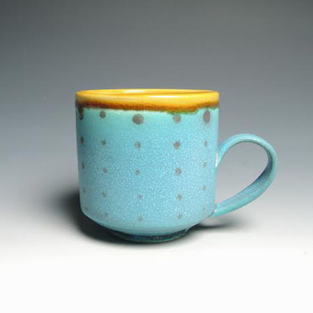 "Turquoise Polka Dot Mug,  porcelain,  3"" x 4"", $36"