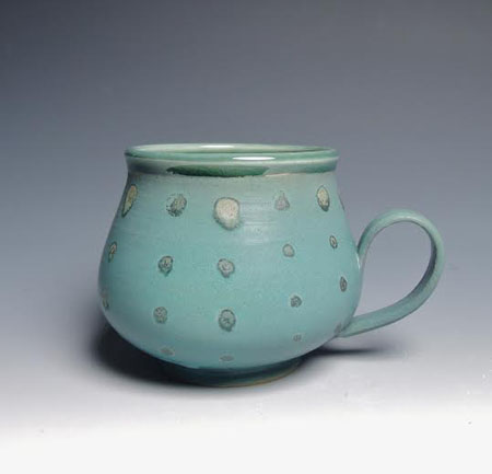 "Green Polka Dot Mug,   porcelain,   3"" x 4"", $36"
