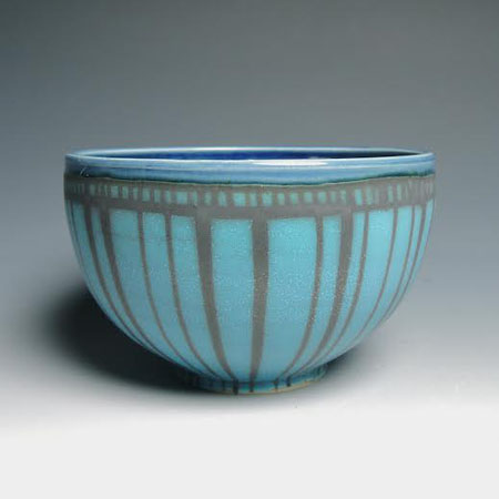 "Turquoise Striped Bowl,   porcelain,   3"" x 6"", $38"