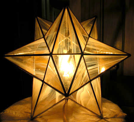 """Stellated Dodecahedron  (table lamp with dimmer),  stained glass, 12"""" diameter, sold"""