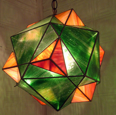 "Cube Icosahedron Compound , stained glass, 12"" diameter, $1,100"