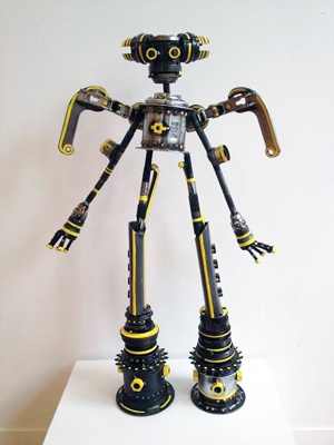 """Mace (140402 M226),  repurposed bicycle parts, moveable wings, enamel, 21"""" x 14"""" x 4"""", sold"""