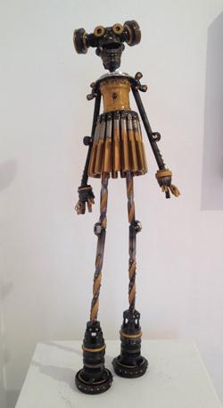 "Grace,  Mercury Class Astrobot, antique bicycle parts, 18 taps, drill bits, gold racing stripes, 22"" x 7"" x 4"",  sold"