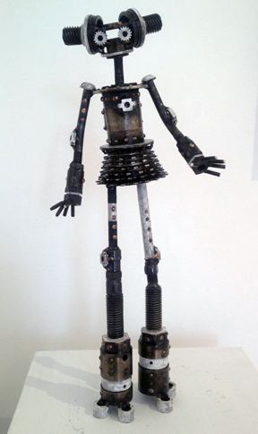 """Karla,  Castillo Class, bicycle parts, square nuts, big bolts, white racing stripes, 16"""" x 14"""" x 4"""", sold"""