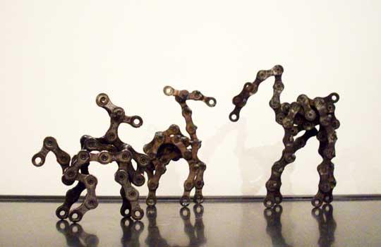 "OMG Phony, Albino Schmole, Pegasus Manx,  bicycle chain,  largest is 5"" x 4"" x 1½"",  $40-50"
