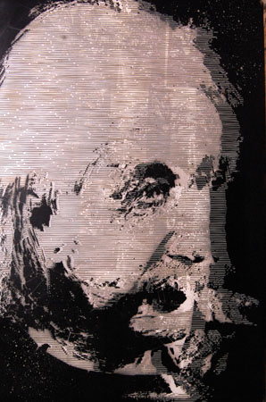 "Einstein on Witherspoon Street,  spray paint, enamel, acrylic on wood, 36"" x 24"""