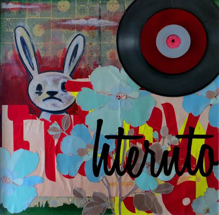 "Undercover Bunny , Joe Barillaro, oil, wallpaper, vinyl lettering, vinyl records, spray paint on canvas, 25"" x 25"" framed, $700"