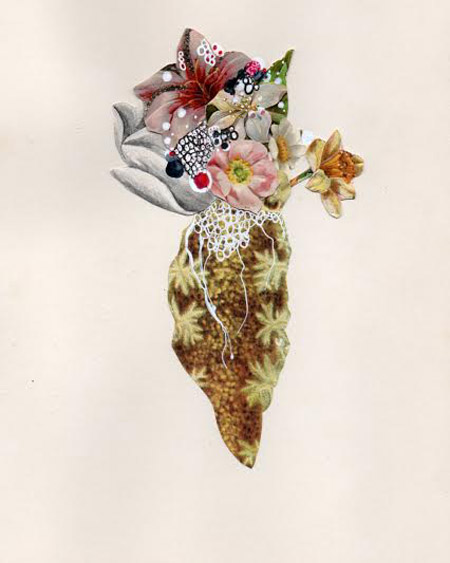 "Flowering Phylum , Jenny Brown, ink and found collage on antique paper, 12"" x 10"", $200"