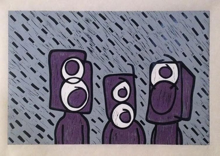 "Purple Speaker People , Rocky Delforge, linocut on kozo, 18"" x 24"", $550"