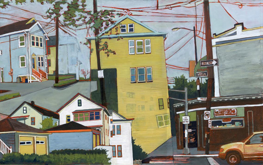 "Milton And Lake Streets , Stacey Durand, acrylic and graphite over collage on panel, 13"" x 21"", $775"
