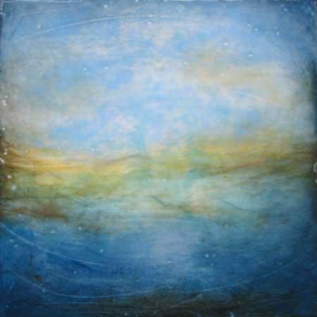 """Looking Beyond , Linda Cordner, encaustic and oil on board, 14"""" x 14"""", $600"""