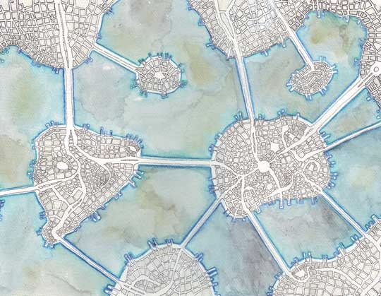 """Archipelago #2 (Cityspace #137) , Emily Garfield, ink and watercolor on paper, 15½"""" x 12½"""" framed, $300"""