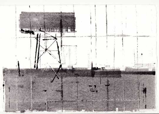 "Roadside Landscape , Robert Maloney, monoprint, 12"" x 15"" framed, $185"