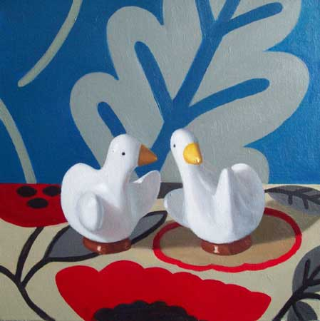 """Two Ducks , Maureen O'Connor, oil on canvas, 18"""" x 18"""" framed, $850"""