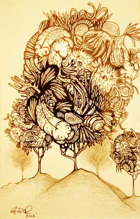 """Tree Swimmers , Vanessa Ly, ink on paper, 9½"""" x 7½"""", $175"""
