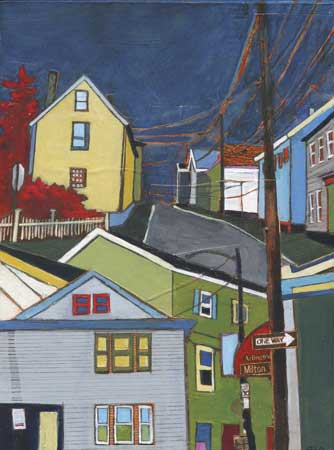 """Portsmouth to Milton , Stacey Durand, acrylic and graphite over collage on panel, 8"""" x 6"""", $375"""