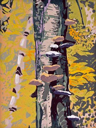 "Consuming Spiral (7/10) , Susan Jaworski-Stranc, reduction linoleum print, 14¼"" x 12¼"" framed, $350"