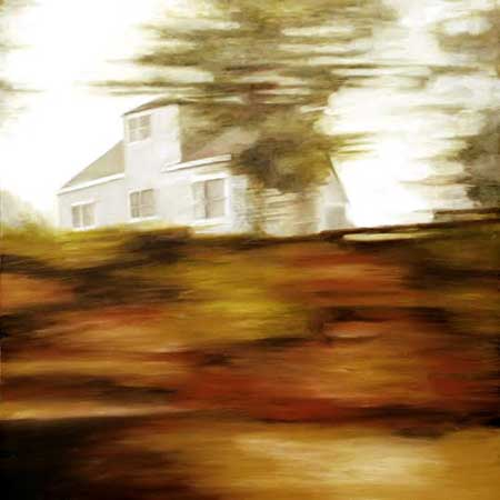 "Little Blue House , David Palmquist, oil on panel, 12"" x 12"", $1000"